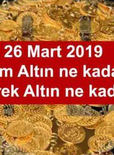26 Mart 2019 Gün Ortası Serbest Piyasa Altın Fiyatları